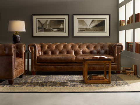 Hooker Furniture - Chester Sofa in Malawi Tonga Leather - SS195-03-087