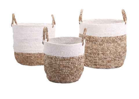 IMAX Worldwide Home - Shoelace and Raffia Woven Baskets - Set of 3 - 11609-3