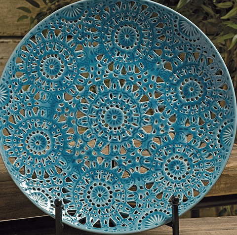 IMAX Worldwide Home - Lopez Floral Pierced Charger with Iron Stand - 25072