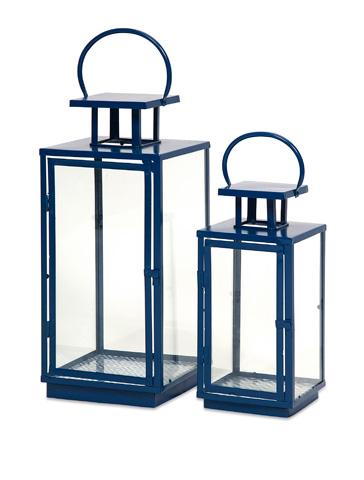 IMAX Worldwide Home - Essentials Marine Blue Lanterns - Set of 2 - 47530-2