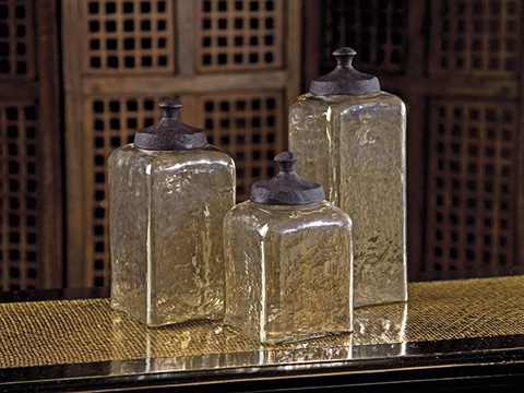IMAX Worldwide Home - Square Brown Luster Canisters - Set of 3 - 6975-3