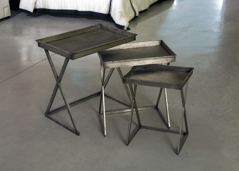 IMAX Worldwide Home - Silver Leaf Tray Tables - Set of 3 - 87047-3