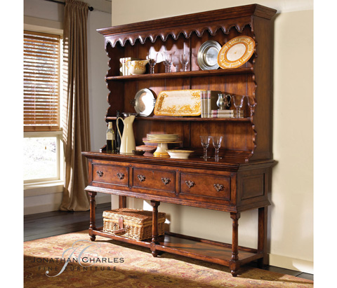 Jonathan Charles - Walnut Country Open Dresser - 492235