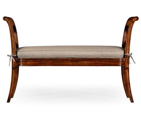 Jonathan Charles - Regency Caned Walnut Bench with High Arms - 492424