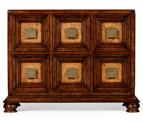 Jonathan Charles - Distressed Walnut Six Drawer Chest - 492507