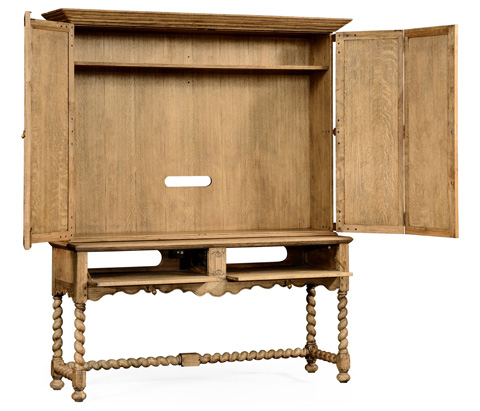 Jonathan Charles - Natural Oak TV Cabinet with Open Base - 493146-L