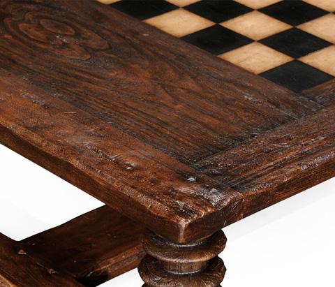 Jonathan Charles - Turned Leg Heavy Distressed Games Table - 494039