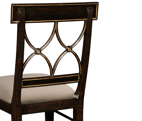 Jonathan Charles - Regency Black Painted Curved Back Side Chair - 494391