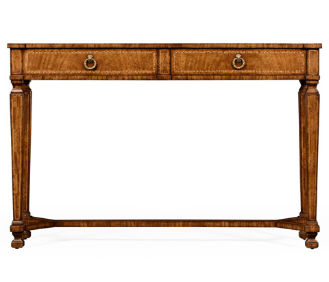Jonathan Charles - Empire Style Walnut Two Drawer Console - 494846
