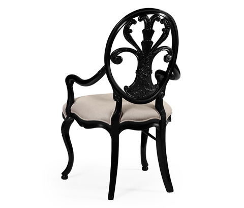 Jonathan Charles - Black Painted Sheraton Style Oval Back Arm Chair - 494940