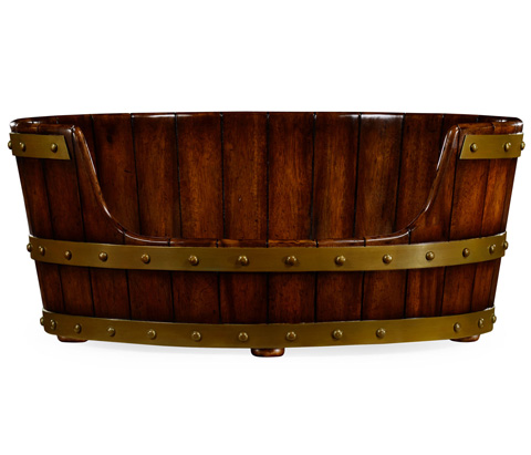 Jonathan Charles - Oval Walnut Wooden Dog Bed - 495017