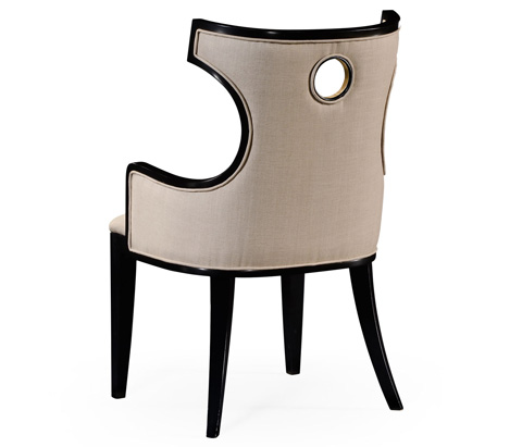 Jonathan Charles - Greek Revival Biedermeier Black Arm Chair - 495046-BLA-AC