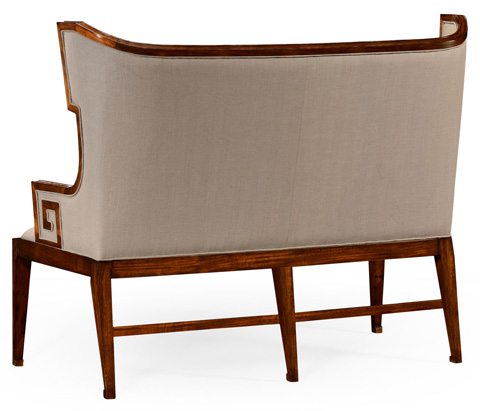Jonathan Charles - Greek Key Design Walnut Upholstered Sette - 495049-WAL
