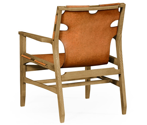 Jonathan Charles - Slung Leather Light Oak Easy Chair - 495096
