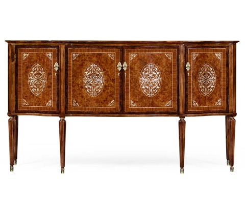 Jonathan Charles - Burl And Mother of Pearl Inlaid Sideboard - 499189