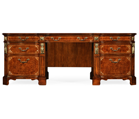 Jonathan Charles - Burl and Mother of Pearl Faux Partners Desk - 499323