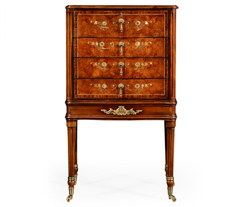 Jonathan Charles - Burl And Mother of Pearl Inlaid Chest - 499411