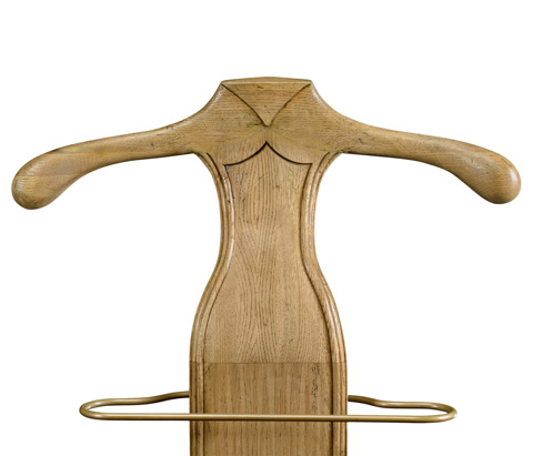 Jonathan Charles - Natural Oak Valet Stand With Brass Rail - 493295-L