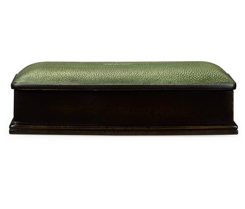 Jonathan Charles - Green Faux Shagreen Bronze Box - 494116-B