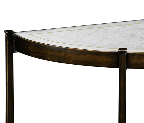 Jonathan Charles - Bronze Iron Demilune Console Table - 494149-B