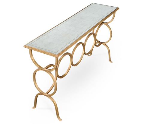 Jonathan Charles - Gilded Iron Circles Console Table - 494156-G