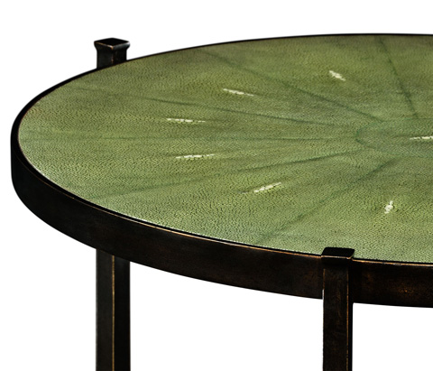 Jonathan Charles - Green Round Faux Shagreen Bronze Side Table - 494253-B