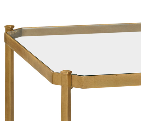 Jonathan Charles - Patinated Gilded Finish Square Side Table - 494921-G