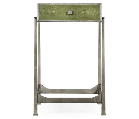 Jonathan Charles - Green Faux Shagreen Silver Side Table - 495044-S