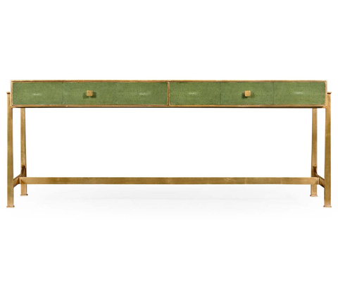 Jonathan Charles - Green Faux Shagreen Gilded Coffee Table - 495070-G