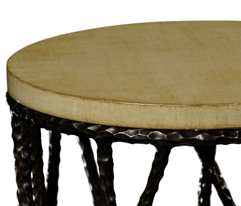 Jonathan Charles - Bronze Hammered Wine Table with Celadon Top - 495085-BRO