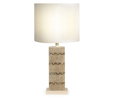 Jonathan Charles - Inlaid Shell Herringbone Lamp - 495368
