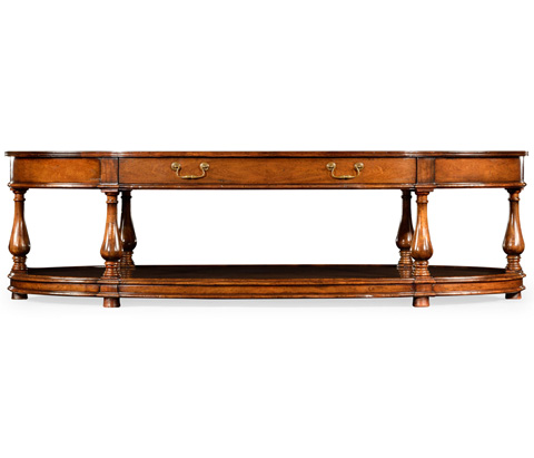 Jonathan Charles - Large Oval Walnut Coffee Table - 492959
