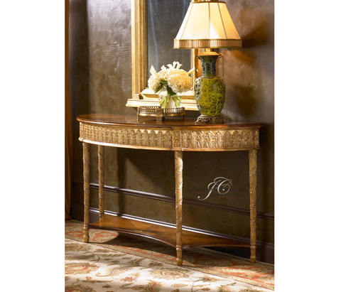Jonathan Charles - Gilded Console Table with Shelf - 493187