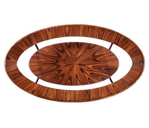 Jonathan Charles - Art Deco Oval Coffee Table with Glass Top - 494138-SAH