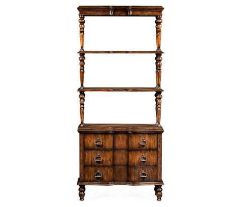 Jonathan Charles - Three Tiered Etagere with Drawers In Rustic Walnut - 495411-RWL