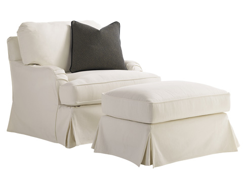 Lexington Home Brands - Stowe Slipcover Ottoman in Cream - 7476-44CR