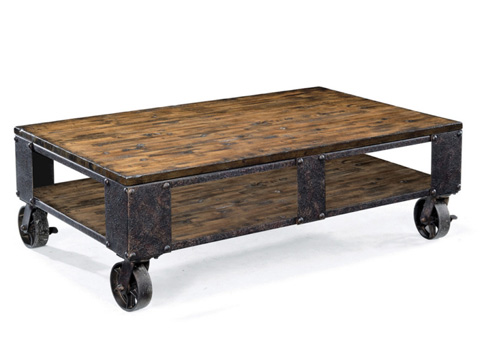 Image of Rectangular Cocktail Table with Casters