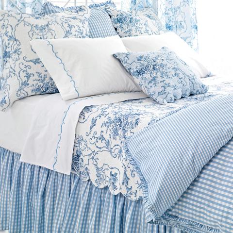 Pine Cone Hill, Inc. - Embroidered Hem White/Blue Sheet Set - King - SESBK