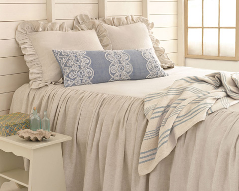 Pine Cone Hill, Inc. - Savannah Linen Chambray Dove Grey Bedspread - King - SADGBCK