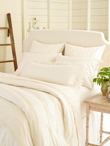 Pine Cone Hill, Inc. - Savannah Linen Gauze Ivory Bed Skirt in Queen - SAIBSQ