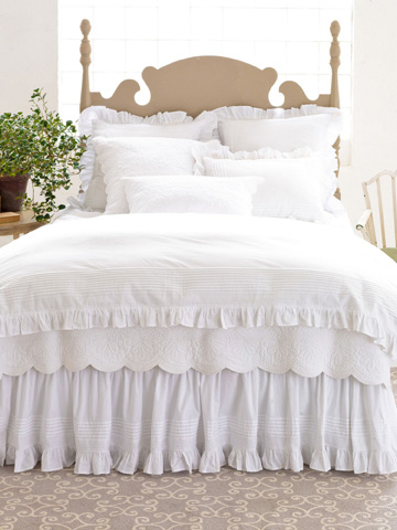 Pine Cone Hill, Inc. - Louisa White Bed Skirt in Queen - SELSBSQ