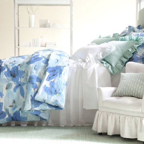 Pine Cone Hill, Inc. - Stone Washed Linen Sky Ruffled Sham-Standard - SWLSRSHS