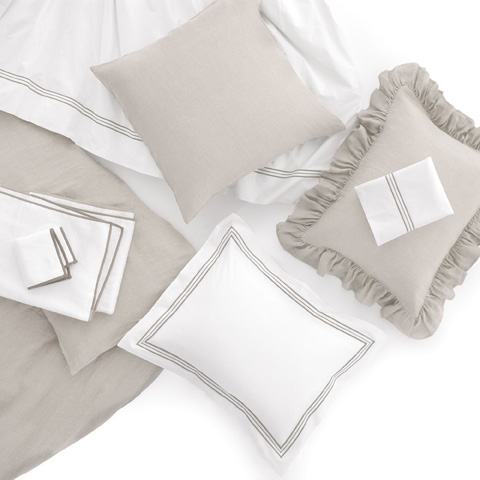 Pine Cone Hill, Inc. - Trio Pearl Grey Flat Sheet in Full/Queen - TRGFQ