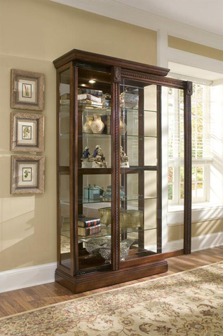 Image of Medallion Cherry Sliding Door Curio