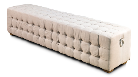Sarreid Ltd. - Beige Linen Long Tufted Bench - 28683
