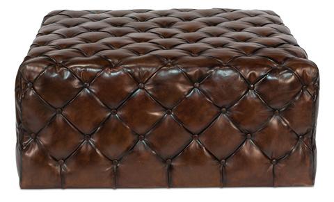 Sarreid Ltd. - Large English Tufted Leather Ottoman - 30439