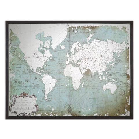 Uttermost Company - Mirrored World Map Art - 30400