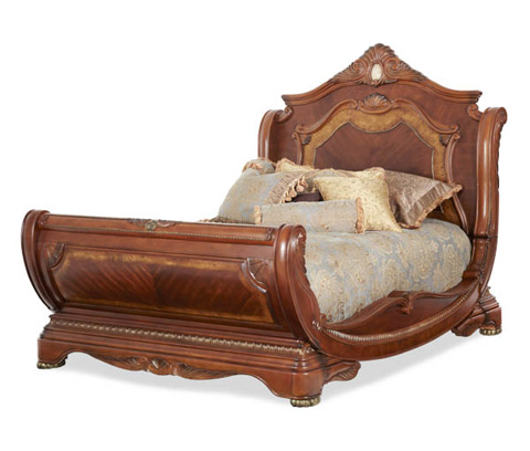 Image of Eastern King Sleigh Bed with Elaborate Carvings