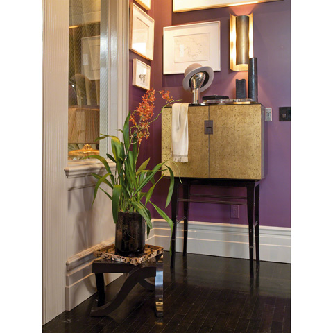 Baker Furniture - Kiosk Gold Butlers Cabinet - 4070