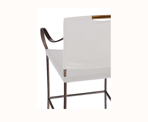 Curate by Artistica Metal Design - Worn Ivory Canvas and Iron Counter Stool - C408-030